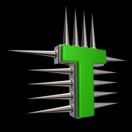 prickles: letter t with metal prickles on black background - 3d illustration