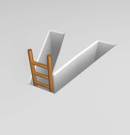 ascended: uppercase letter v shape hole with ladder - 3d illustration Stock Photo