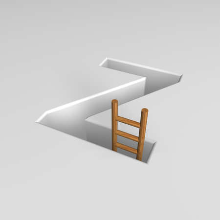 ascended: uppercase letter z shape hole with ladder - 3d illustration