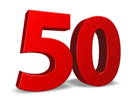 red number fifty on white background - 3d illustration