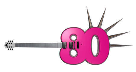 number eighty guitar with prickles on white background - 3d illustration illustration