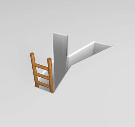 ascended: uppercase letter y shape hole with ladder - 3d illustration