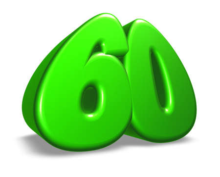 cartoon number sixty on white background - 3d illustration Stock Illustration - 17502286