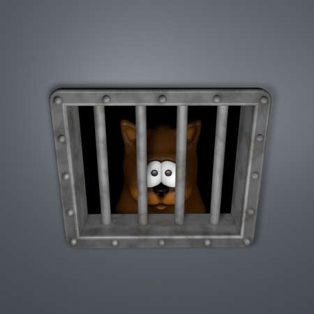 sad cartoon cat behind riveted metal prison window - 3d illustration Stock Illustration - 17592040