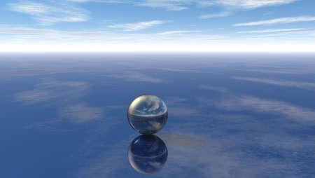 metal sphere under cloudy sky - 3d illustration Zdjęcie Seryjne