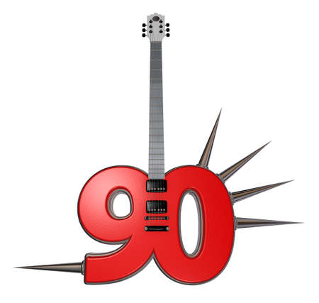 number ninety guitar with prickles on white background - 3d illustration illustration