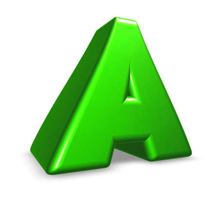 green letter a on white background - 3d illustration illustration