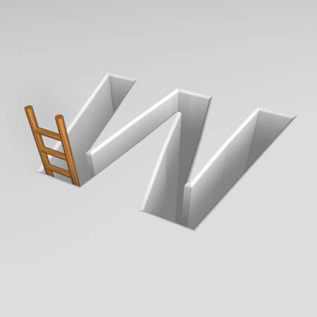 ascended: uppercase letter w shape hole with ladder - 3d illustration