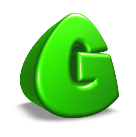green letter g on white background - 3d illustration illustration