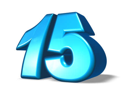 fifteen: cartoon number fifteen on white background - 3d illustration Stock Photo