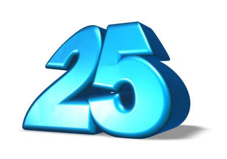 cartoon number twenty five on white background - 3d illustration