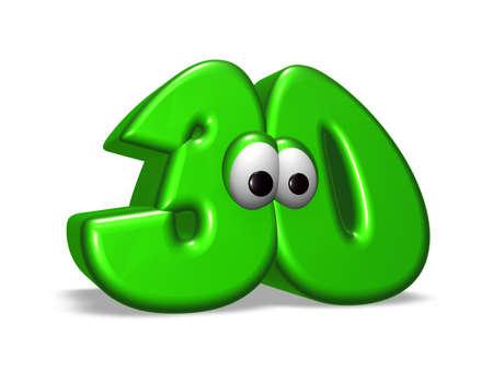 cartoon number thirty with eyes on white background - 3d illustration illustration
