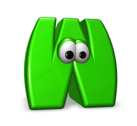 letter w with eyes - 3d illustration illustration