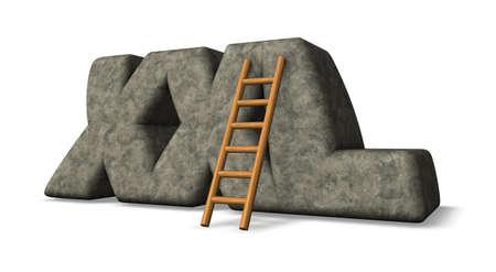 xxl: stone xxl tag and ladder - 3d illustration Stock Photo