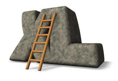 stone xl tag and ladder - 3d illustration Stock Illustration - 17592102