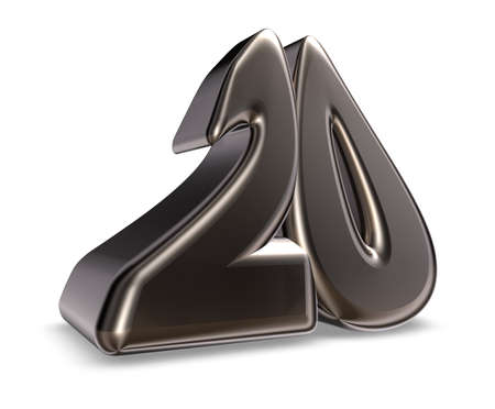 metal number twenty on white background - 3d illustration Stock Illustration - 17705965