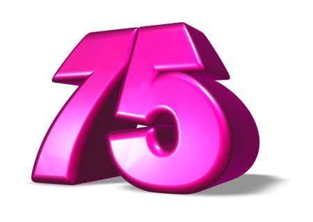 seventy: cartone animato numero settanta cinque su sfondo bianco - 3d illustrazione