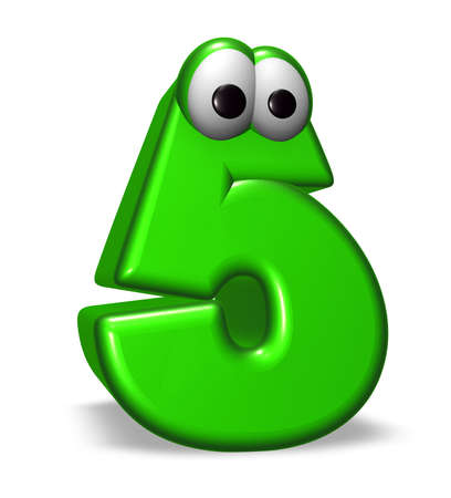number five with cartoon eyes on white background - 3d illustration Stock Illustration - 17705971