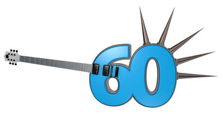number sixty guitar with prickles on white background - 3d illustration illustration