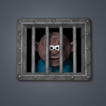 gangster behind riveted steel prison window - 3d illustration Stock Illustration - 17706051