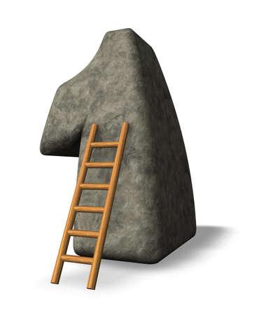 ladder leans on number one - 3D illustration Stock Illustration - 17844935