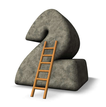 ladder leans on number two - 3D illustration Stock Illustration - 17844947