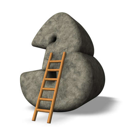 ladder leans on number three - 3D illustration Stock Illustration - 17844938