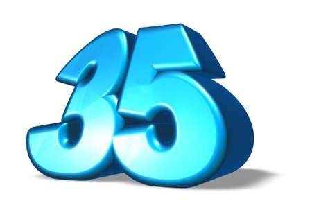 thirty five: cartone animato numero trenta cinque su sfondo bianco - 3d illustrazione Archivio Fotografico