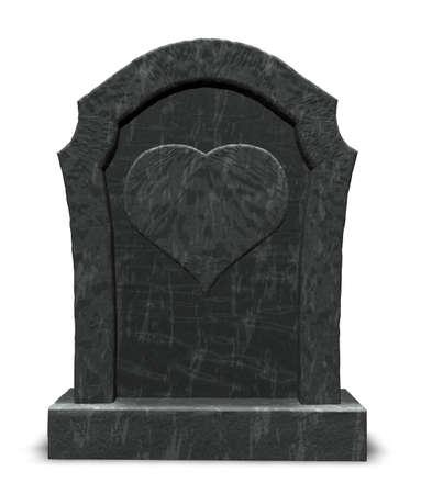 gravestone with heart symbol on white background - 3d illustration illustration