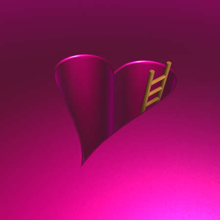 heartshaped: heart-shaped hole and ladder - 3d illustration Stock Photo