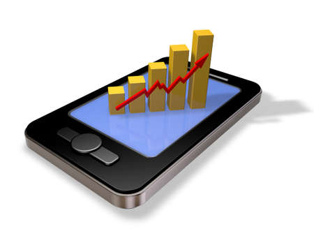 smartphone with business graph - 3d illustration Stock Illustration - 17844956