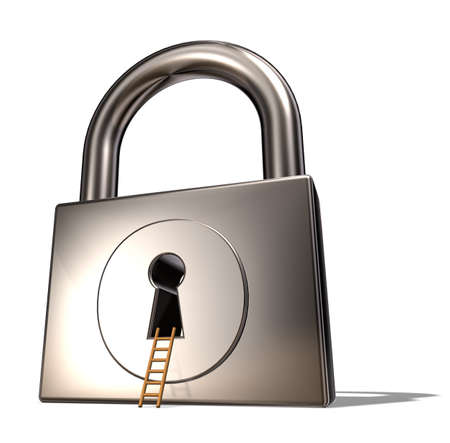 padlock and ladder on white background - 3d illustration Stock Illustration - 17845015