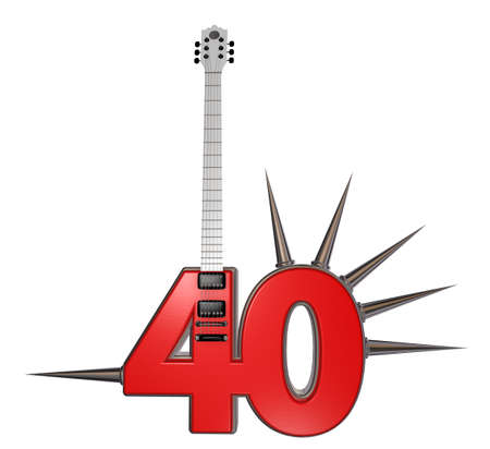 number forty guitar with prickles on white background - 3d illustration illustration