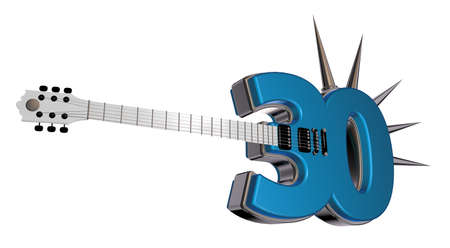number thirty guitar with prickles on white background - 3d illustration illustration