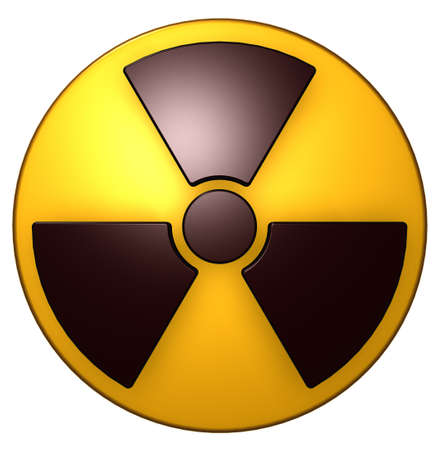 atomic symbol: nuclear symbol on white background - 3d illustration