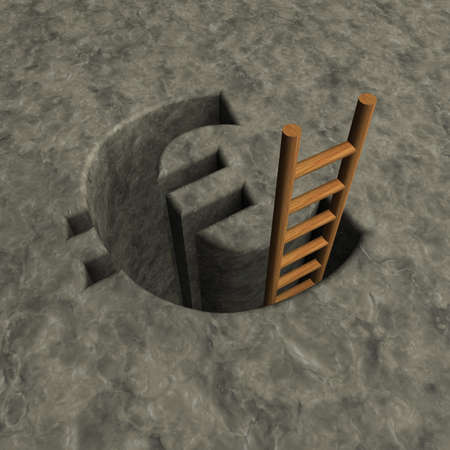ascended: euro symbol hole and wooden letter - 3d illustration