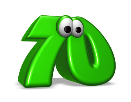 70 years: cartoon number seventy on white background - 3d illustration Stock Photo