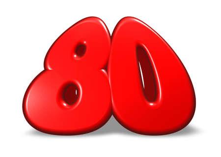 achtzig: cartoon-Nummer 80 auf wei�em Hintergrund - 3d illustration