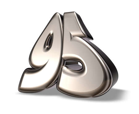 ninety: metal number ninety five on white background - 3d illustration Stock Photo