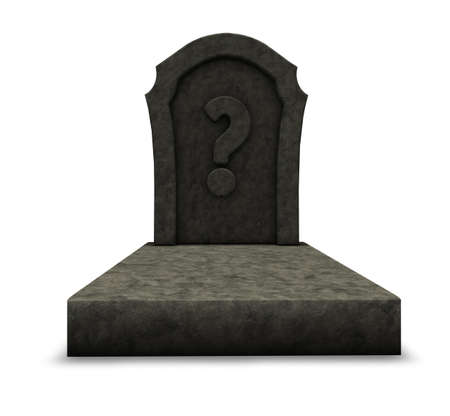 gravestone with question mark on white background - 3d illustration illustration