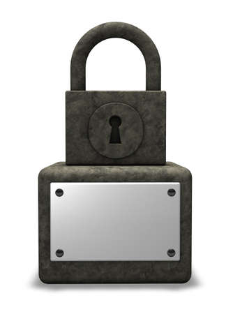 stone padlock monument with blank sign - 3d illustration Stock Illustration - 18059332