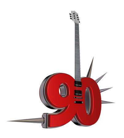 prickles: number ninety guitar with prickles on white background - 3d illustration