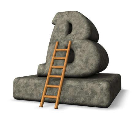 stone letter b and ladder - 3d illustration illustration