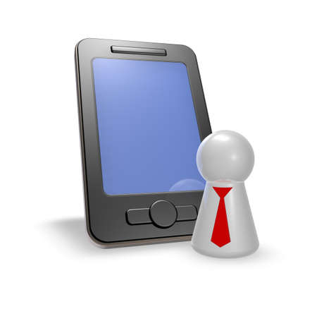 ebusiness: smartphone and token with tie - 3d illustration