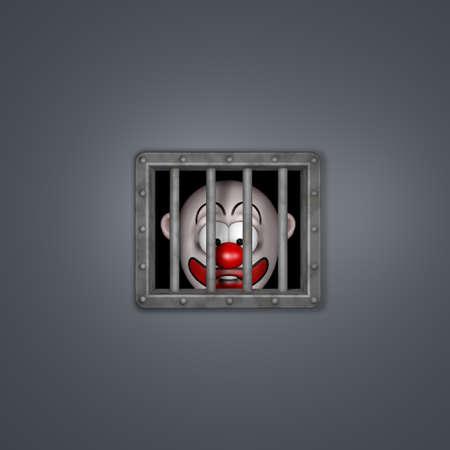 cartoon clown character behind prison window - 3d illustration Stock Illustration - 18227428