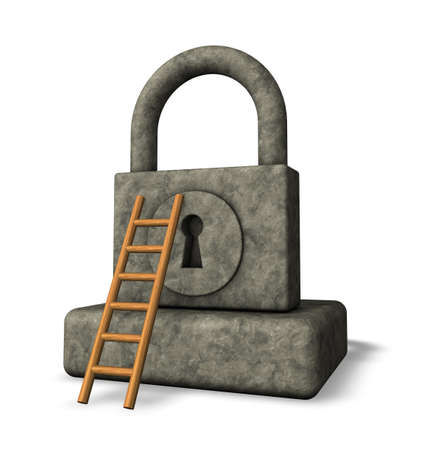 stone padlock and ladder on white background - 3d illustration Stock Illustration - 18227443