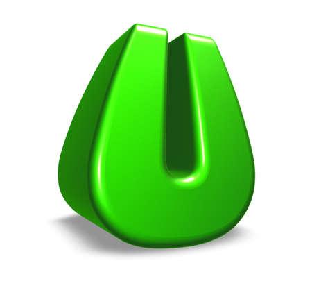 green letter u on white background - 3d illustration illustration