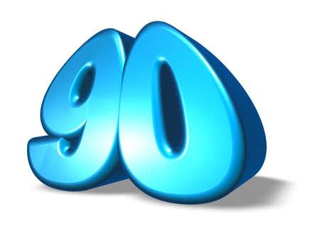 ninety: cartoon number ninety on white background - 3d illustration Stock Photo