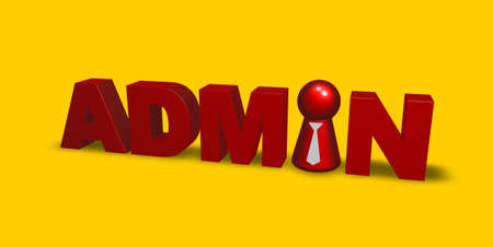 ascended: red token with tie inthe word admin - 3d illustration Stock Photo