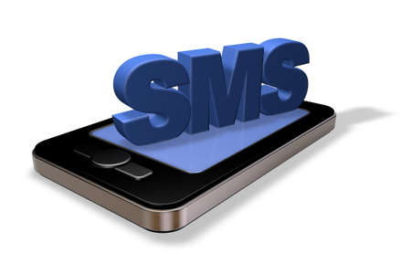 smartphone and sms tag on white background - 3d illustration Stock Photo